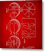 1929 Basketball Patent Artwork - Red Metal Print by Nikki Marie Smith