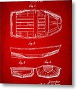 1938 Rowboat Patent Artwork - Red Metal Print