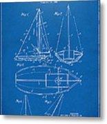 1948 Sailboat Patent Artwork - Blueprint Metal Print