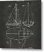 1948 Sailboat Patent Artwork - Gray Metal Print