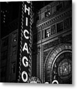 Chicago Theatre Sign In Black And White Metal Print by Paul Velgos