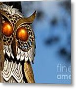 Faux Owl With Golden Eyes Metal Print