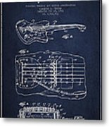 Fender Floating Tremolo Patent Drawing From 1961 - Navy Blue Metal Print