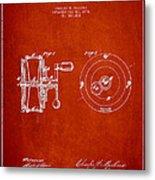 Fishing Reel Patent From 1874 Metal Print