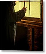 Gentleman In 18th Century Clothing With A Candle Metal Print by Jill Battaglia