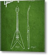 Mccarty Gibson Electric Guitar Patent Drawing From 1958 - Green Metal Print