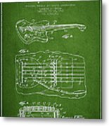 Fender Floating Tremolo Patent Drawing From 1961 - Green Metal Print by Aged Pixel