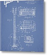 Mccarty Gibson Les Paul Guitar Patent Drawing From 1955 - Light Blue Metal Print by Aged Pixel
