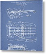 Fender Floating Tremolo Patent Drawing From 1961 - Light Blue Metal Print by Aged Pixel