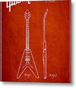 Mccarty Gibson Electric Guitar Patent Drawing From 1958 - Red Metal Print by Aged Pixel
