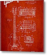 Mccarty Gibson Les Paul Guitar Patent Drawing From 1955 - Red Metal Print