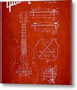 Mccarty Gibson Stringed Instrument Patent Drawing From 1969 - Red Metal Print by Aged Pixel