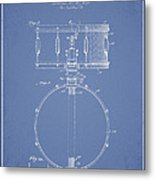 Snare Drum Patent Drawing From 1939 - Light Blue Metal Print