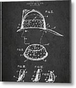Firefighter Headgear Patent Drawing From 1926 Metal Print