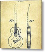 Gretsch Guitar Patent Drawing From 1941 - Vintage Metal Print by Aged Pixel