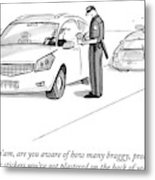 A Cop Pulls Over A Minivan Metal Print by Julia Suits
