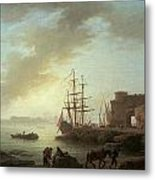 A Mediterranean Port At Dawn Metal Print by Claude-Joesph Vernet