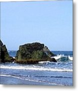 A Pair Of Seagulls On A Rock Metal Print