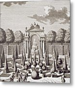 A Parterre With Orange Trees In The Garden Of The Lichtenstein Palace Metal Print