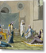 A Persian Harem, From Le Costume Ancien Metal Print