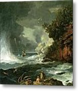 A View Of Cape Stephens In Cook's Straits With Waterspout Metal Print