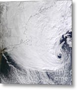 A Winter Storm Over Eastern New England Metal Print by Stocktrek Images