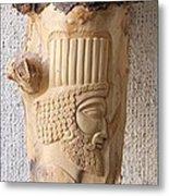 Achaemenian Soldier Relief Sculpture Wood Work Metal Print