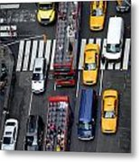 Aerial View Of New York City Traffic Metal Print by Amy Cicconi