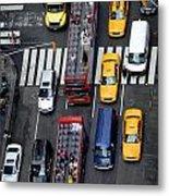 Aerial View Of New York City Traffic Metal Print