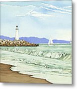 Afternoon Sail Walton Lighthouse Metal Print by Kerry Van Stockum