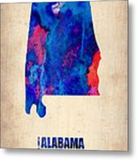 Alabama Watercolor Map Metal Print