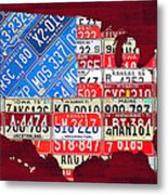 American Flag Map Of The United States In Vintage License Plates Metal Print by Design Turnpike