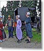 Amish Family Travelers Metal Print