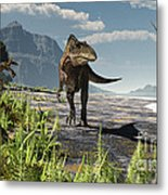 An Acrocanthosaurus Roams An Early Metal Print by Arthur Dorety