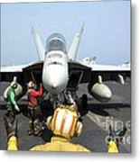 An Aircraft Director Signals Metal Print by Stocktrek Images
