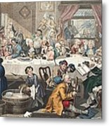 An Election Entertainment, Illustration Metal Print by William Hogarth