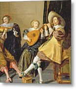An Elegant Company Playing Music In An Metal Print by Dirck Hals