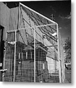 anti rpg cage surrounding observation sanger at North Queen Street PSNI police station Belfast North Metal Print by Joe Fox