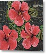 Antique Hibiscus Black 3 Metal Print