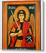 Archangel Michael Hand-painted Wooden Holy Icon Orthodox Iconography Icons Ikons Metal Print by Denise Clemenco
