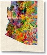 Arizona Watercolor Map Metal Print by Michael Tompsett