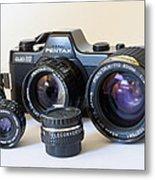 Asahi Pentax Auto 110 Mini Camera And Lenses Metal Print by Melany Sarafis
