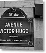 Avenue Victor Hugo Paris Road Sign Metal Print