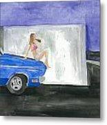 barefoot girl sittin' on the hood of a Dodge Metal Print by Jeremiah Iannacci