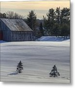 Barn In Snow In Color Metal Print by Donna Doherty