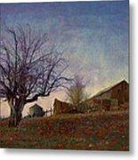 Barn On The Hill - Big Sky Metal Print