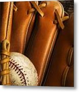Baseball Glove And Baseball Metal Print by Chris Knorr