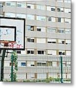 Basketball Court In A Social Neighbourhood Metal Print