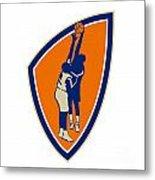 Basketball Player Dunk Block Ball Shield Retro Metal Print by Aloysius Patrimonio