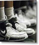Basketball Shoes In A Row Metal Print